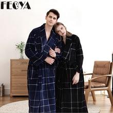 Winter Thick Warm Plaid Lovers Couple Coral Fleece Robe Women Men Nightgown Bath Gown Female Large Size Long Sleepwear Nightwear