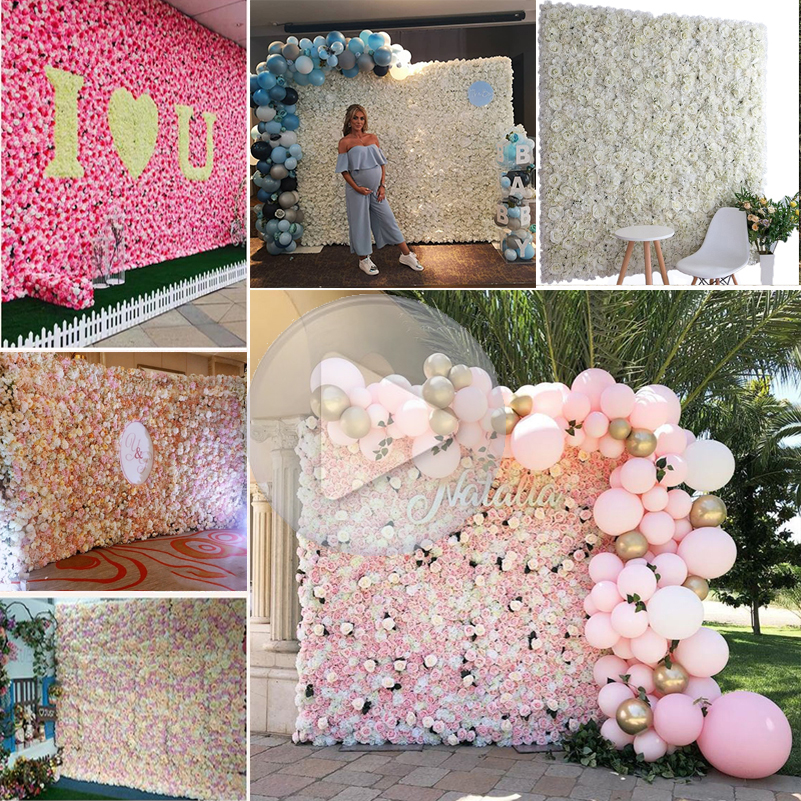 Seide Rose Blume Hochzeit Dekoration Künstliche Blume Wand für Hochzeit Home Decor Baby Dusche Kulissen Hochzeit Hintergrund Decor