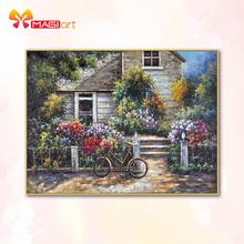 Cross stitch kits Embroidery needlework sets 11CT water soluble canvas patterns 14CT Spring flower house-NCMS090