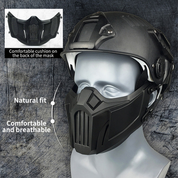 (Tactical) Hunting Mask Airsoft Mask Military Fan Field CS Game Half Face Protective Mask Soft Anti-Impact Sports Protective Mas