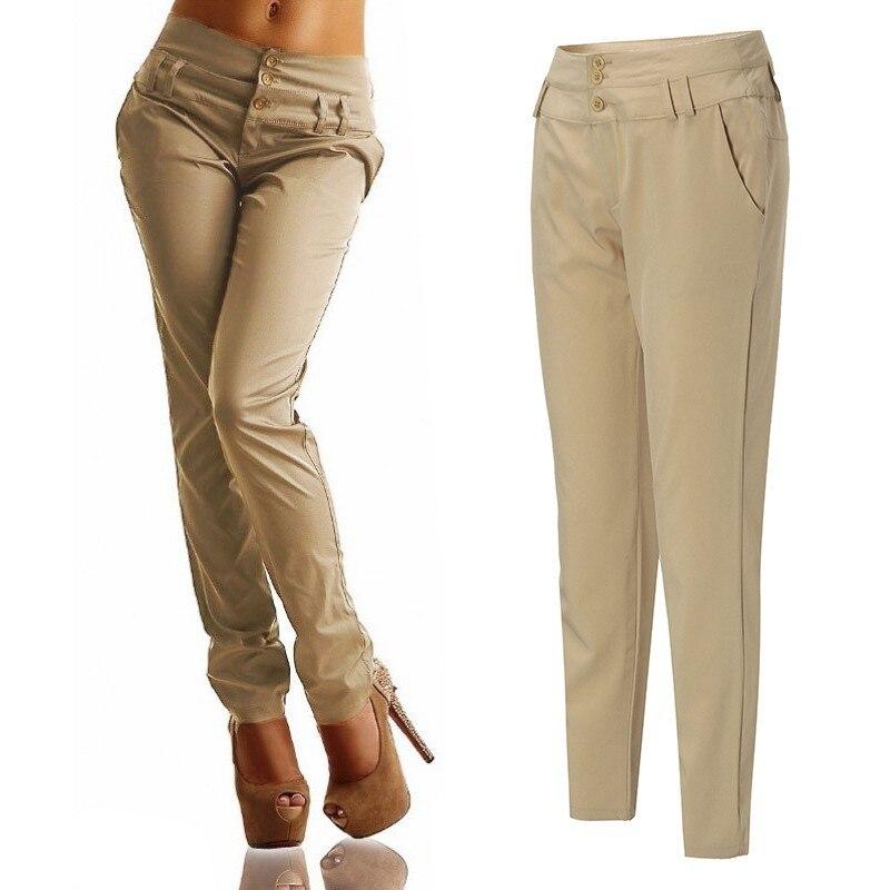 Elegant Pencil   Pants   Women's High Waist Tunip 2020 ZANZEA Casual Solid Long Pantalon Palazzo Female Button Plus Size Trousers