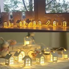 Светодиодный гирлянда деревянный дом струнный светильник 2 м 10 светодиодный s декор комнаты струнная лампа Свадебная вечеринка праздник Сказочный светильник s Новинка лампа