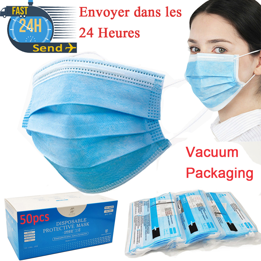 24 Hours Send Face Mask No Pollution Vacuum Packaging Protective Mask 3-Layer Non-Woven Fabric Masks Mascarillas Maseczka Masque