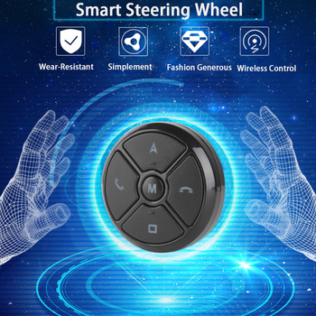 OKNAVI Universal Car Steering Wheel 10 Key Music Smart wired Android GPS Navigation Radio Remote Control Buttons Black Light image