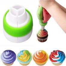Creme tricolor conversor bolo de confeitaria tubulação bico ponta saco de pastelaria ferramenta de decoração do bolo cupcake fondant cookie acessórios de cozimento