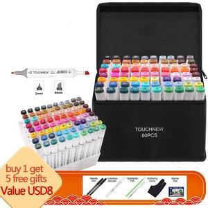 Маркеры Touchnew, набор ручек из войлока, 80/168 цветов, анимация, эскиз, маркер, двойная головка, рисование, художественные кисти, ручки с 5 подаркам...