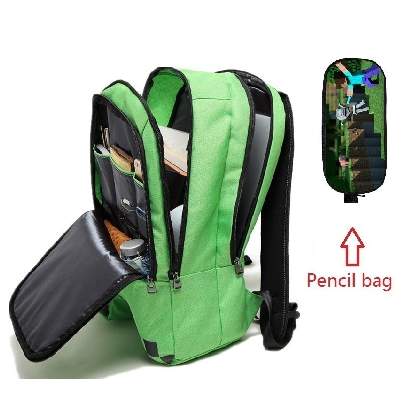 Hot-selling Cartoon block school <font><b>bags</b></font> Children My World Green Backpack <font><b>canvas</b></font> zip creeper backpacks GAME gifts <font><b>mochila</b></font> <font><b>escolar</b></font> image