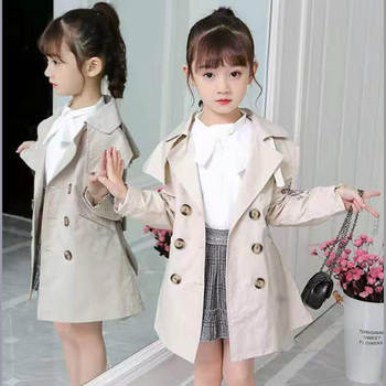 Girls Trench Coats Turn-down Collar Jackets Outwear For Girls Clothing Tops Kids Windbreaker Autumn Outerwear For 3-12 Years