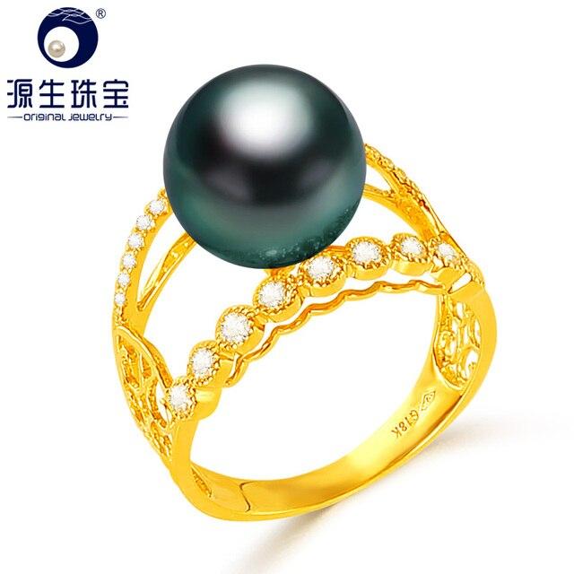 [YS] bague de fiançailles en or 18k, perle de tahiti, naturelle, noire, cultivée, 10 à 11mm