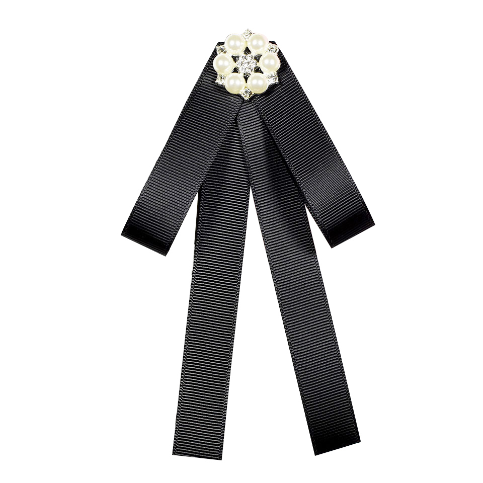 Rhinestone Ribbon Bow Tie Bowknot Brooches Fashion Fabric Pins Shirt Collar Bowtie Brooch Pearl Collar Pin Cute For Women Gift