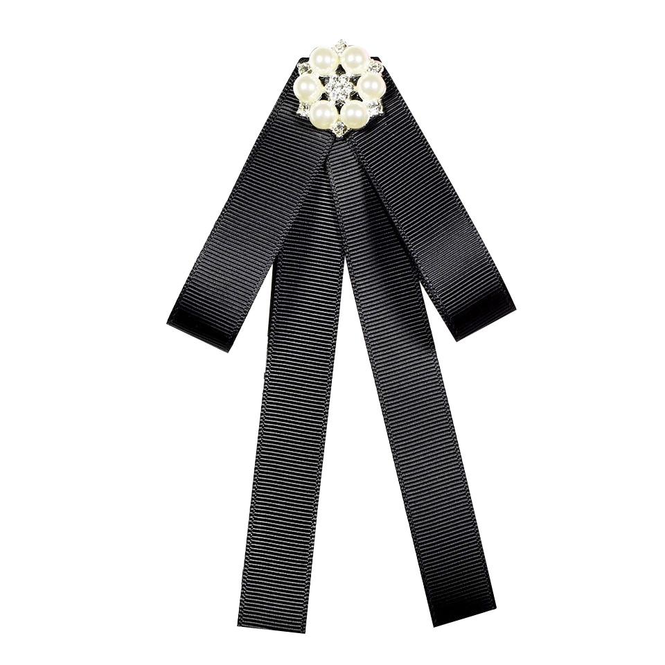 Rhinestone Ribbon Bow Tie Bowknot Brooches Fashion Fabric Pins Shirt Collar Bowtie Brooch Pearl Collar Pin Cute For Women Gift