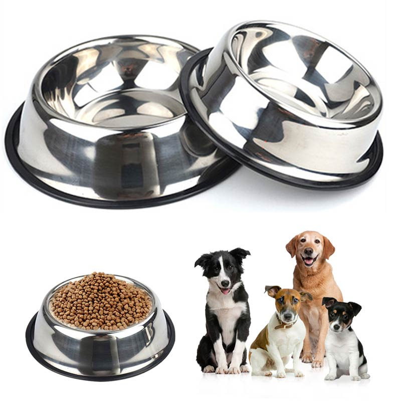 2019 New Dog Food Dish For Pet Stainless Steel High Quality 4 Sizes Feeding Feeder 1PC Water Bowl Puppy Pet Bowls Cat image