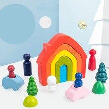 Wooden-Toys Semicircle House Building-Blocks Montessori Rainbow Christmas-Gift Educational