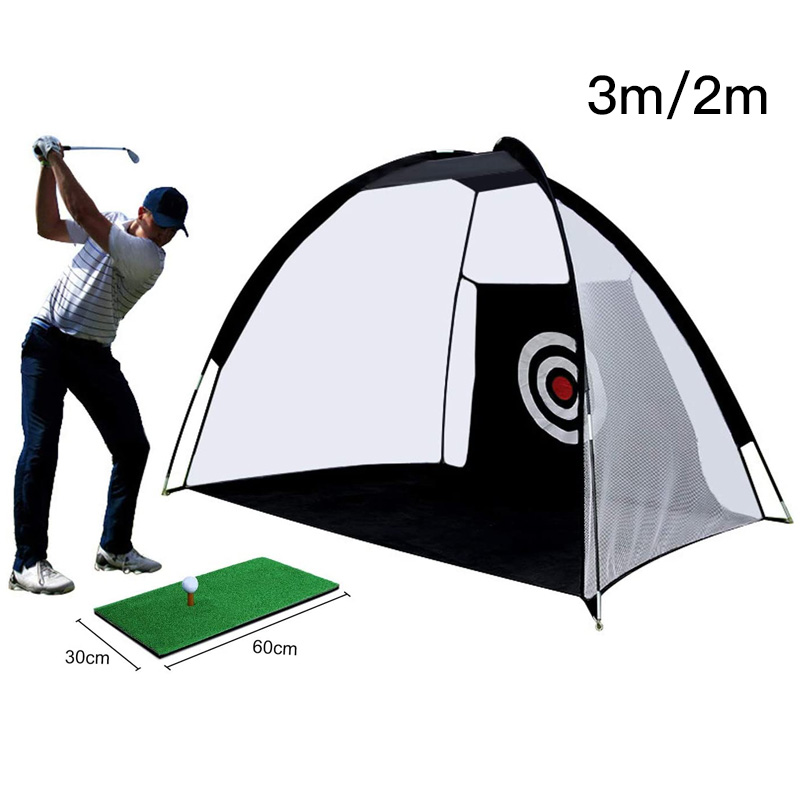 CRESTGOLF 2M/3M Golf Cages Golf Mats Practice Net Trainer Indoor Outdoor Hitting Net Set Golf Chipping Net Golf Training Aids