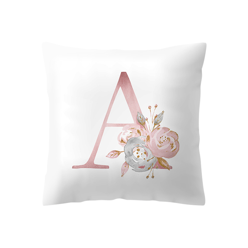 45x45cm Flower English Alphabet Pillowcase Letter Pillow Case Polyester Cushion Wedding Cover Bed For Sofa Home