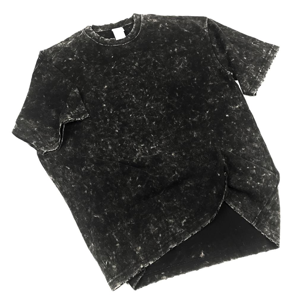 Distressing Black Short Sleeve T-shirt Kanye Garment-Washed Cotton Tee Ripped Cuffs Streetwear