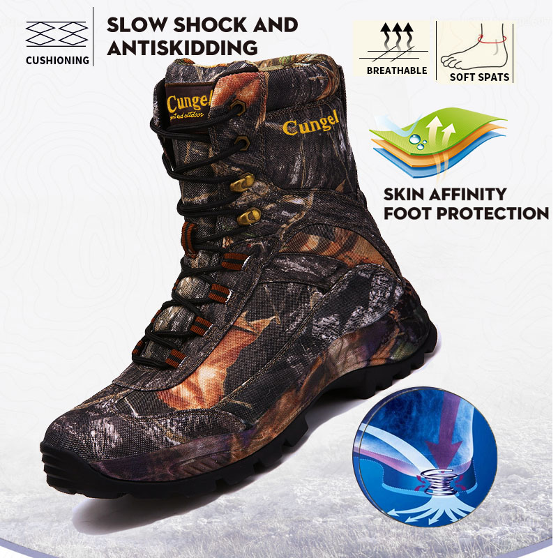 CUNGEL Mens Outdoor High Quality Brand Hiking Shoes Tactical Boots Winter Army Sport Trekking Climbing Athletic Shoes Camouflage