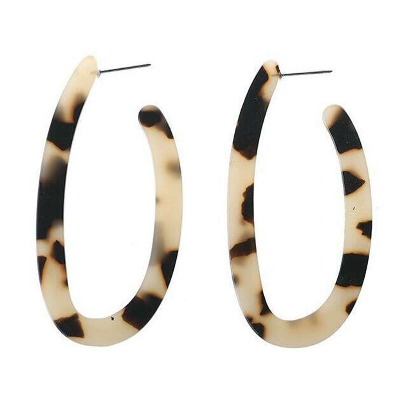 Leopard Acrylic Resin Mottled Statement U Shape Earrings Women Fashion Jewelry H8WF in Stud Earrings from Jewelry Accessories