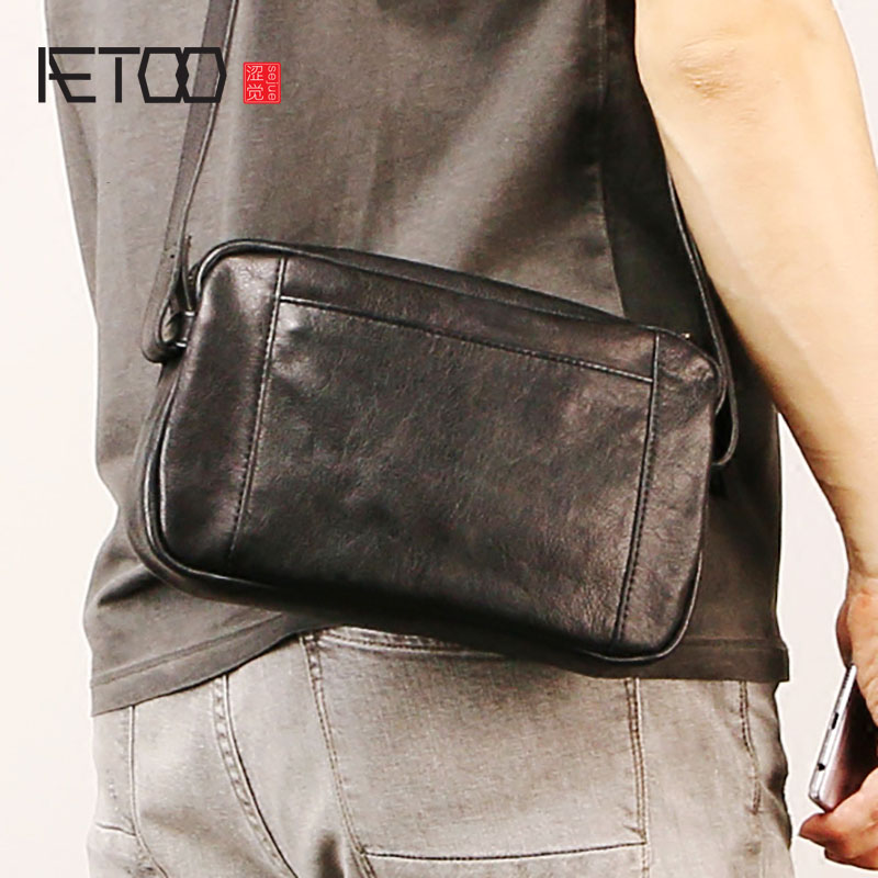 AETOO Male leather shoulder bag, oblique carry female bag, fashion trend mini simple cowhide bag