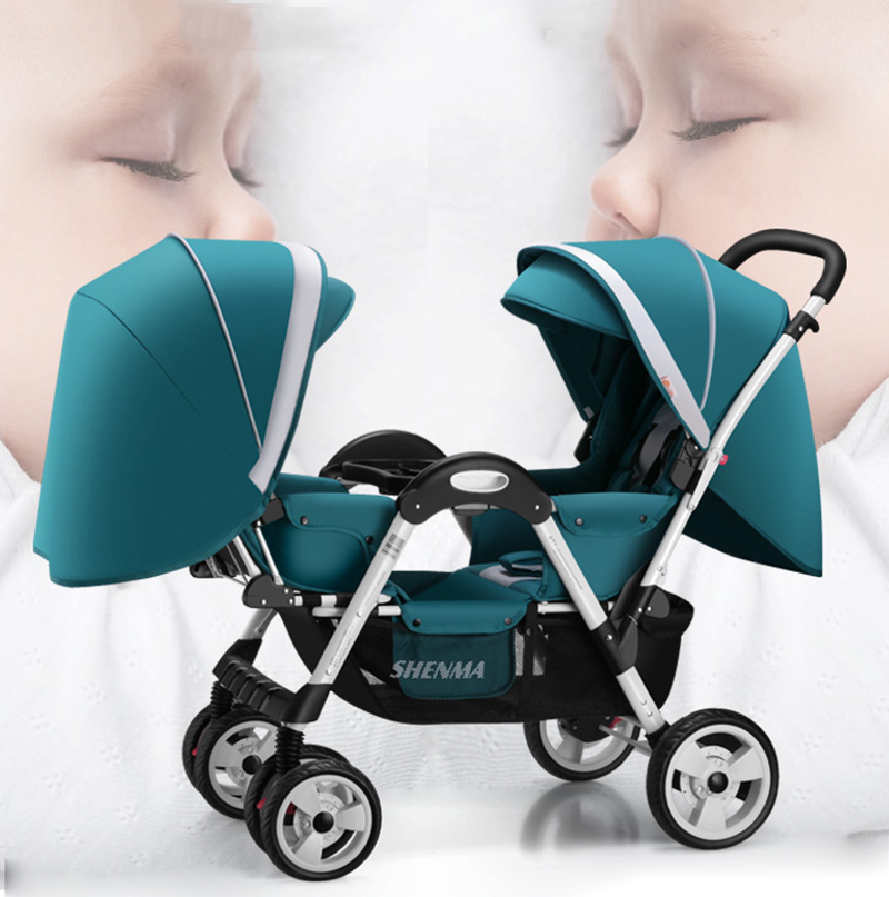 SHENMA Twin Baby Stroller Double Baby Can Sit And Lay Light Folding Stroller Free Shipping