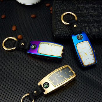 wholesale Charging  Lighter Keychain USB Watch Survival Compass Cigarette Lighter with Light Electric New Multi-function Outdoor 5