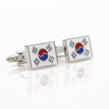 Fashion South Korea Flag Cufflinks  Cuff Links 1 pair fashion silver plated 26 english letters metal cufflinks h cuff links