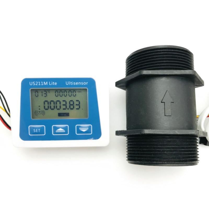 US211M Lite USN-HS20TA 10-300L/Min 2 Inch Digital Flow Meter Flow Reader Compatible with All Our Hall Effect Water Flow Sensor