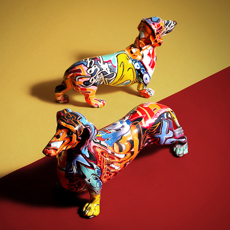 Creative Color Dachshund Dog Statue Puppy Figurine Resin Sculpture Home Office Bar Store Wedding Decoration Ornament Crafts