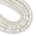 Матовая белого золота серебра плоские круглые монеты гематит 3/4/6/8 мм натуральный камень Spacer Бусины для самостоятельного изготовления ювел...