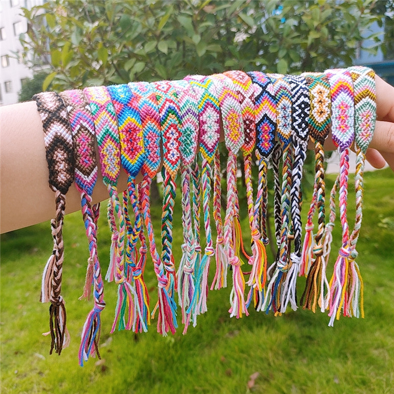 Woven Bracelet Jewelry Braided Rainbow Tassel Bohemian Handmade Lucky Multicolor