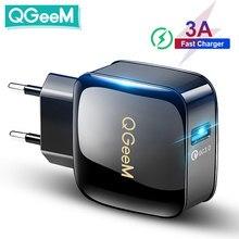 Qgeem qc 3.0 carregador usb carga rápida 3.0 carregador de telefone para iphone 18w3a carregador rápido para huawei samsung xiaomi redmi ue eua plug