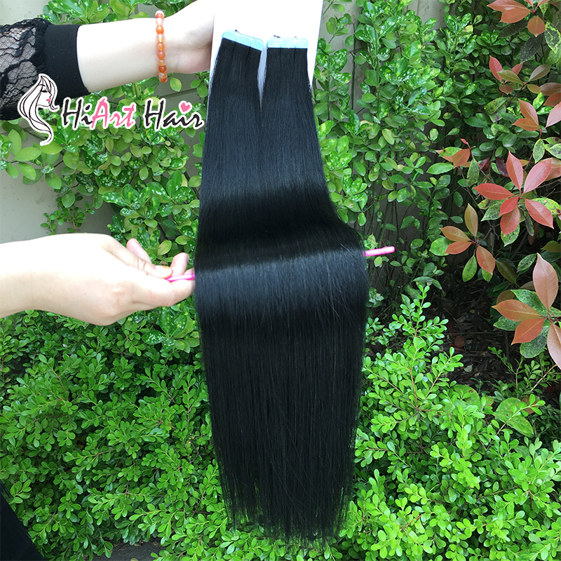 """HiArt 2.5g Real Human Tape Hair Extensions Salon European Skin Adhesive Tape Double Drawn Remy Hair Extensions Straight  24"""" 26"""""""