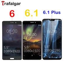 شاشة LCD ترافالغار لهاتف نوكيا 6.1 Plus شاشة LCD X6 2018 TA 1045 TA 1050 1016 1068 تعمل باللمس لهاتف نوكيا 6 6.1 شاشة LCD استبدال