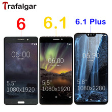 Trafalgar LCDสำหรับNokia 6.1 PlusจอแสดงผลLCD X6 2018 TA 1045 TA 1050 1016 1068หน้าจอสัมผัสสำหรับNokia 6 6.1จอแสดงผลLCDเปลี่ยน