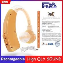 Cofoe Mini audífono amplificador de sonido de oído amplificador de audífonos recargables BTE audífonos en cuidado de los oídos portátil dispositivo auditivo oreja izquierda y derecha para el cuidado de la salud de la
