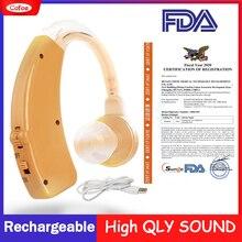 Cofoe usb補聴器充電式調整可能な耳のサウンドアンプ補聴器高齢者のための聴覚損失デバイスfda