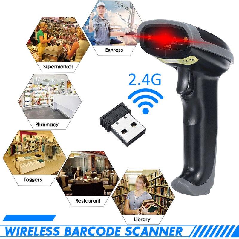 DC5V 2 in 1 2.4G Wireless Wired Barcode Scanner Handheld Scanning Bar Code Reader 80-150Meters Wireless Transfer Distance