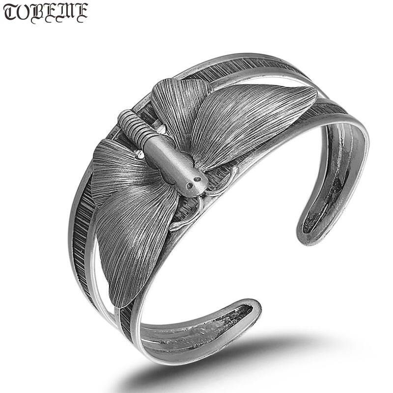 Handcrafted Thai Silver Butterfly Bangle Vintage Pure Silver Women Cuff Bracelet Sterling Silver Bracelet