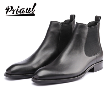 Boots Men Chelsea Formal Genuine Leather Shoes Vintage Retro Fashion Wedding Office Brand Luxury Party Mens Casual Leisure Boot autumn new british style men s chelsea boots luxury brand leather casual men ankle boots vintage martin botas formal dress shoes