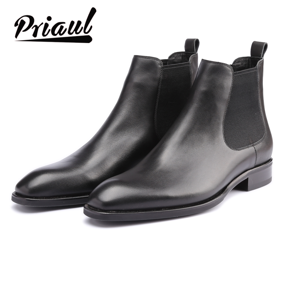 Chelsea Boots Men Genuine Leather Handmade Office Formal Wedding Party Original Vintage Retro Custom Mens Snow Winter Boots title=