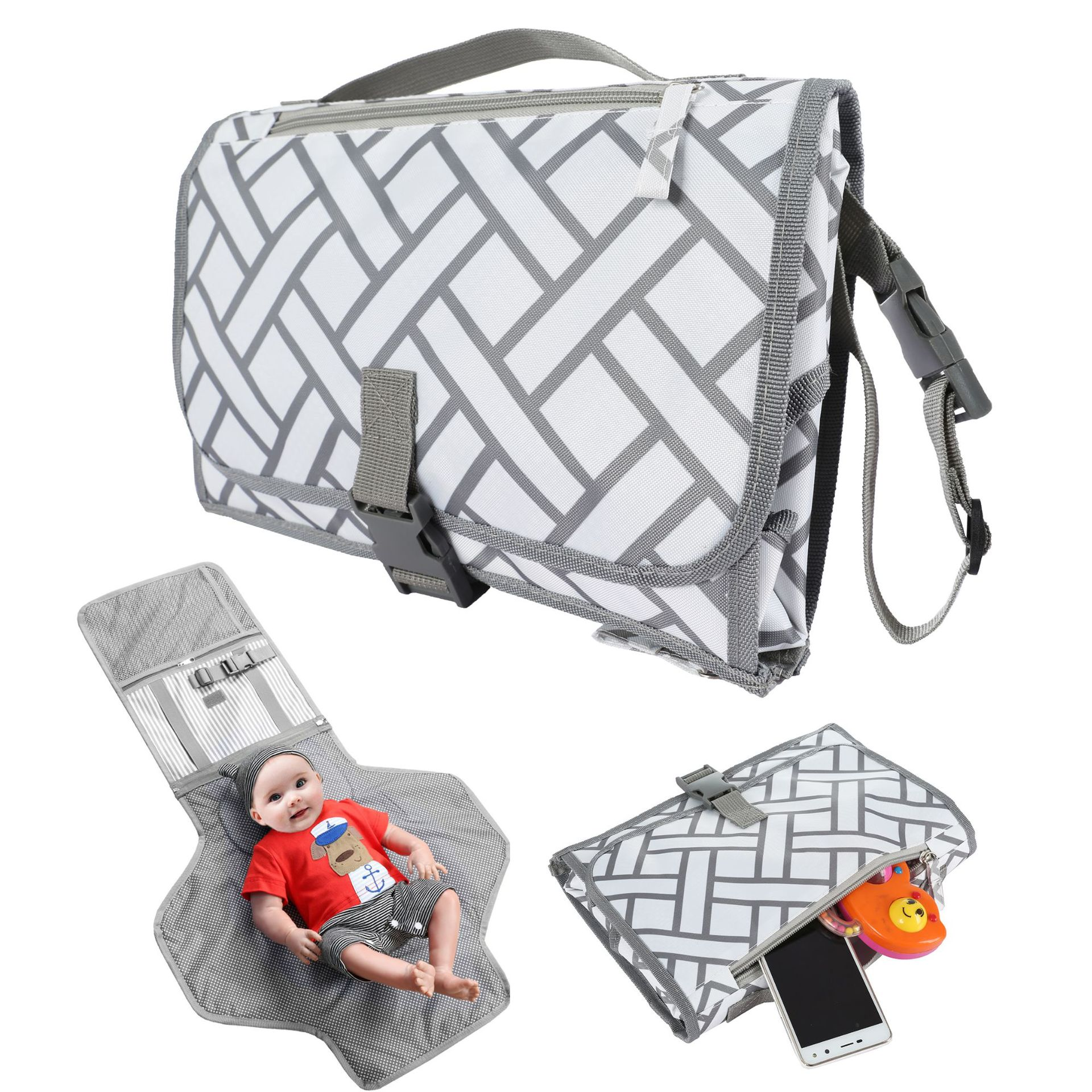 Nappy Changing Mat  For Outside Storage Bag Baby Floor Mat Home Travel  Portable Foldable Waterproof  Diaper Baby Changing Kit