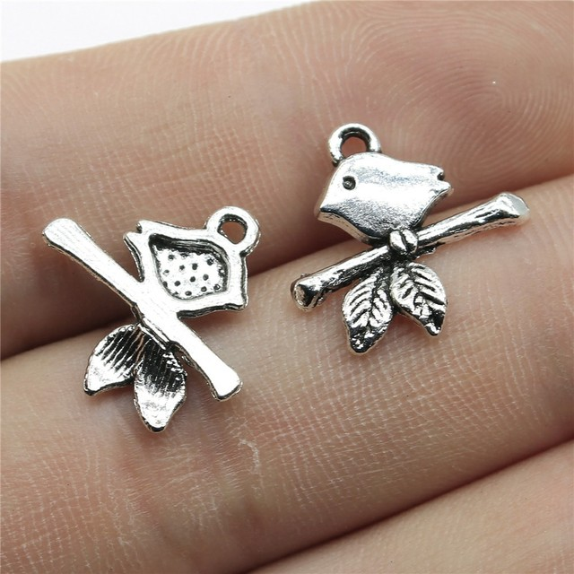 10//20//30 Pcs Silver Plated Bird Charms Robin Pendant Nature Jewelry Cute 19x15mm