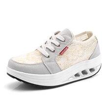 Sneakers Wedges Toning-Shoes Platform Walking Women's Black Sport Trainer Beige Flat