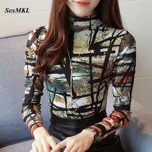 SEXMKL, женские рубашки с принтом,, женская блуза, корейская мода, Зимняя Блузка с длинным рукавом, для офиса, для девушек, зимние базовые Топы размера плюс