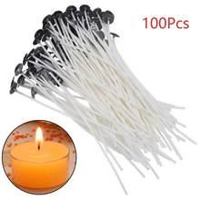 100 pçs algodão vela wicks sem fumaça cera puro núcleo de algodão diy vela que faz pré-encerado wicks fontes de festa 2.5/4/5/6/7/9/15/20cm