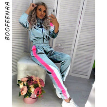 BOOFEENAA Satin Casual Sweat Suits Women Tracksuit Fall Outfit Jogging Matching Sets