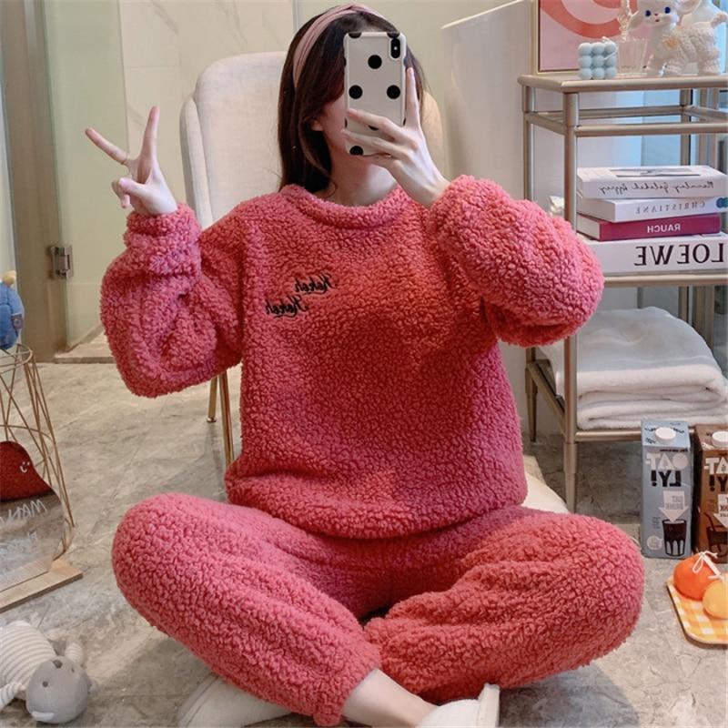 Купить женские милые пижамы чистого цвета на осень и зиму женский теплый