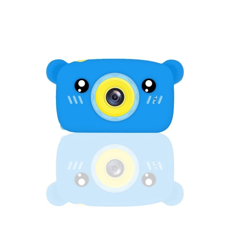 Portable Children 1300W HD Digital Camera Cute Cartoon Bear Shape 2 Inches IPS Screen Mini Camera Toy Gift For Kids