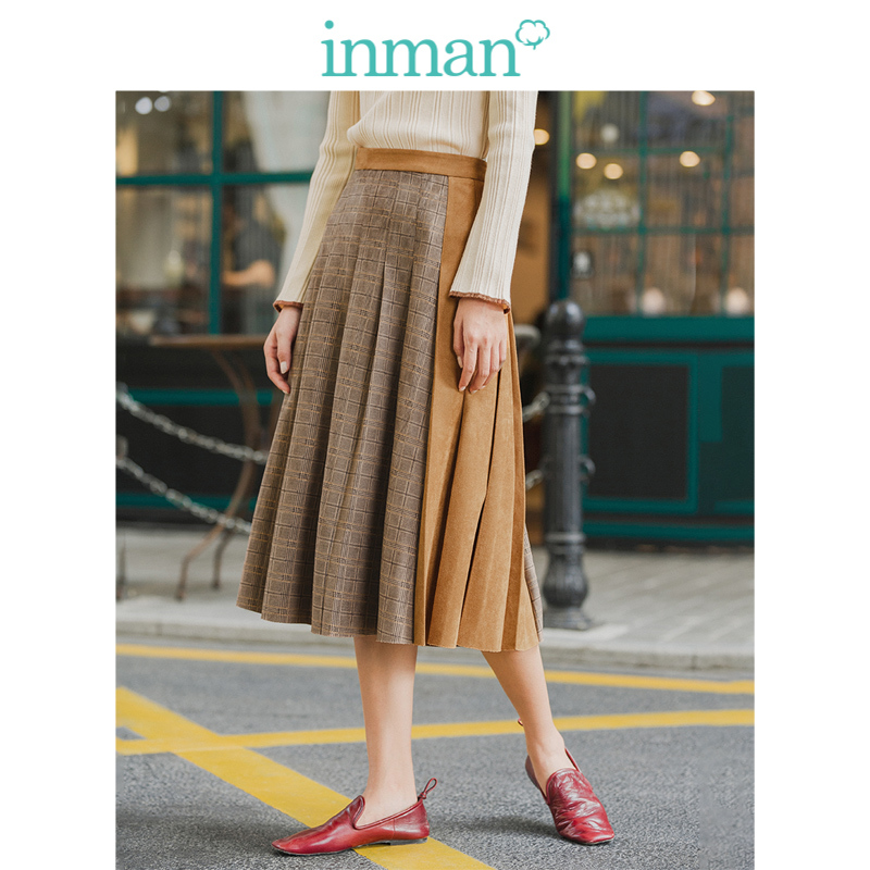 INMAN 2019 Winter New Arrival Literary Personality Split Contrast Color Plated Women Skirt