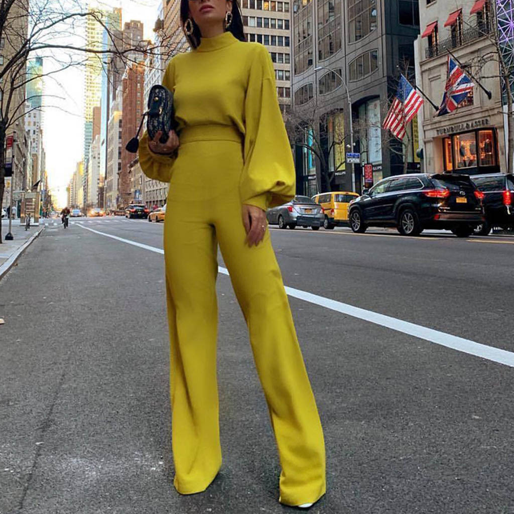 Women Yellow Jumpsuit Autumn Winter New  Long-Sleeved High-Necked Halter Casual One-Piece Romper Wide Leg Pants Overalls Female